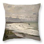 The Beach At Sainte Adresse Throw Pillow by Claude Monet