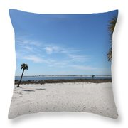 The Beach At The Isle Dauphine Throw Pillow