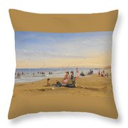 The Beach At Trouville Throw Pillow
