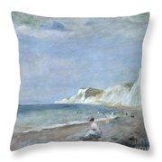 The Beach At Varangeville Throw Pillow by Renoir