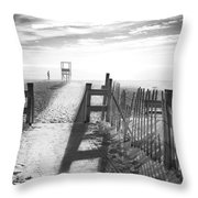 The Beach In Black And White Throw Pillow