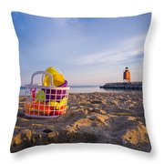 The Beach Is Calling Throw Pillow