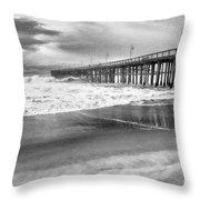 The Beach Pier Throw Pillow