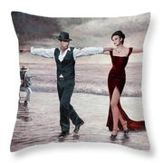 The Beach Quartet, Lady In Red Throw Pillow