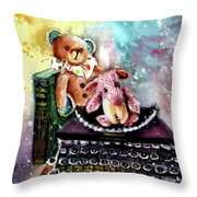 The Bear And The Sheep And The Typewriter From Whitby Throw Pillow