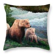 The Bears Of Katmai Throw Pillow