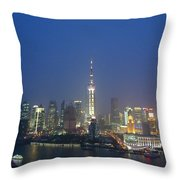 The Beautiful Bund, Shanghai, China Throw Pillow