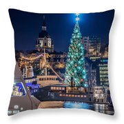 The Beautiful, Freshly Renovated Katarina Church And The Gigantic Christmas Tree In Stockholm Throw Pillow