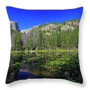The Beautiful Nymph Lake With Reflection And Clear Water Throw Pillow