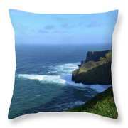 The Beauty Of Ireland's Cliff's Of Moher And Galway Bay  Throw Pillow