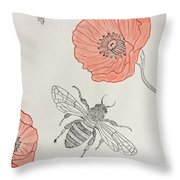 The Bee And Red Poppies  Throw Pillow