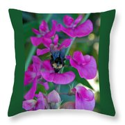 The Bee And The Flowers Throw Pillow