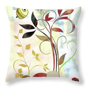 The Bee And The Ladybug Throw Pillow