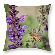 The Bee And The Laveder Throw Pillow