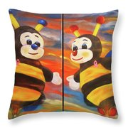 The Bees, Joey And Lilly Throw Pillow