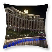 The Belagio A Night View Throw Pillow