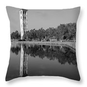 The Bell Tower Reflections B W Furman University Greenville South Carolina Art Throw Pillow