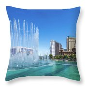 The Bellagio Fountains In Front Of The Eiffel Tower 2 To 1 Ratio Throw Pillow