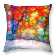 The Bench At First Snow Throw Pillow