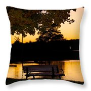 The Bench By The Lake Throw Pillow by Danielle Allard