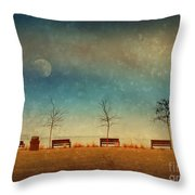 The Benches By The Moon Throw Pillow