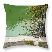 The Bicycle Is A Ubiquitous Form Of Transport In Europe And This Owner Has Literally Gone Fishing. Throw Pillow