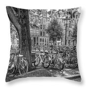 The Bicycles Of Amsterdam In Black And White Throw Pillow