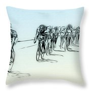 The Bike Race Throw Pillow