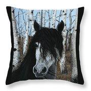 The Birch Horse Throw Pillow