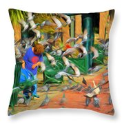 The Bird Feeder Throw Pillow