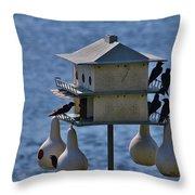 The Bird Hotel Throw Pillow