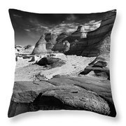 The Bisti Badlands - New Mexico - Black And White Throw Pillow
