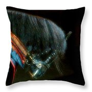 The Black Horse I Throw Pillow