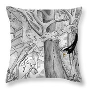 The Blackbird And The Worm Throw Pillow