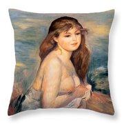 The Blonde Bather Throw Pillow