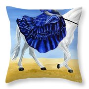 The Blue And The White - Princess Starliyah Riding Candis Throw Pillow