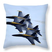 the Blue Angels perform a Diamond 360 Throw Pillow