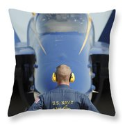 the Blue Angels waits for a signal from his pilot  Throw Pillow