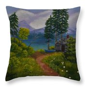 The Blue Canoe Throw Pillow