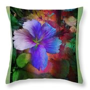 The Blue China Rose  Throw Pillow