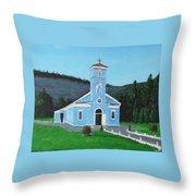 The Blue Church Throw Pillow
