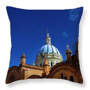 The Blue Domes Of Cuenca, Ecuador Throw Pillow