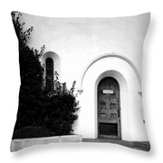 The Blue Door B And W Throw Pillow