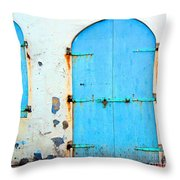 The Blue Door Shutters Throw Pillow