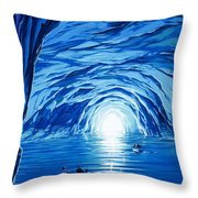 The Blue Grotto In Capri By Mcbride Angus  Throw Pillow