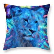 The Blue Lioness Throw Pillow