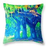 The Blue Live Oaks Throw Pillow