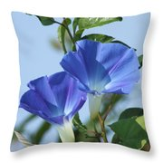 The Blue Morning Glory Throw Pillow