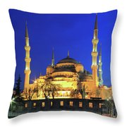 The Blue Mosque At Night Istanbul Turkey Throw Pillow