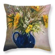 The Blue Pitcher Throw Pillow